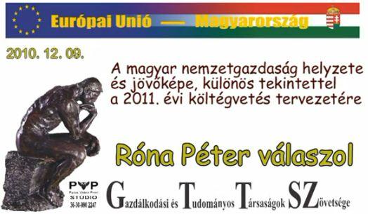Róna Péter kérdésekre adott válasza. 2010.12.09. GTTSZ