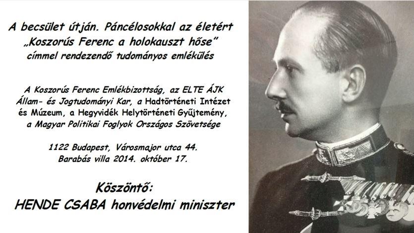 Koszorús Ferenc a Holokauszt hőse – Hende Csaba köszöntője