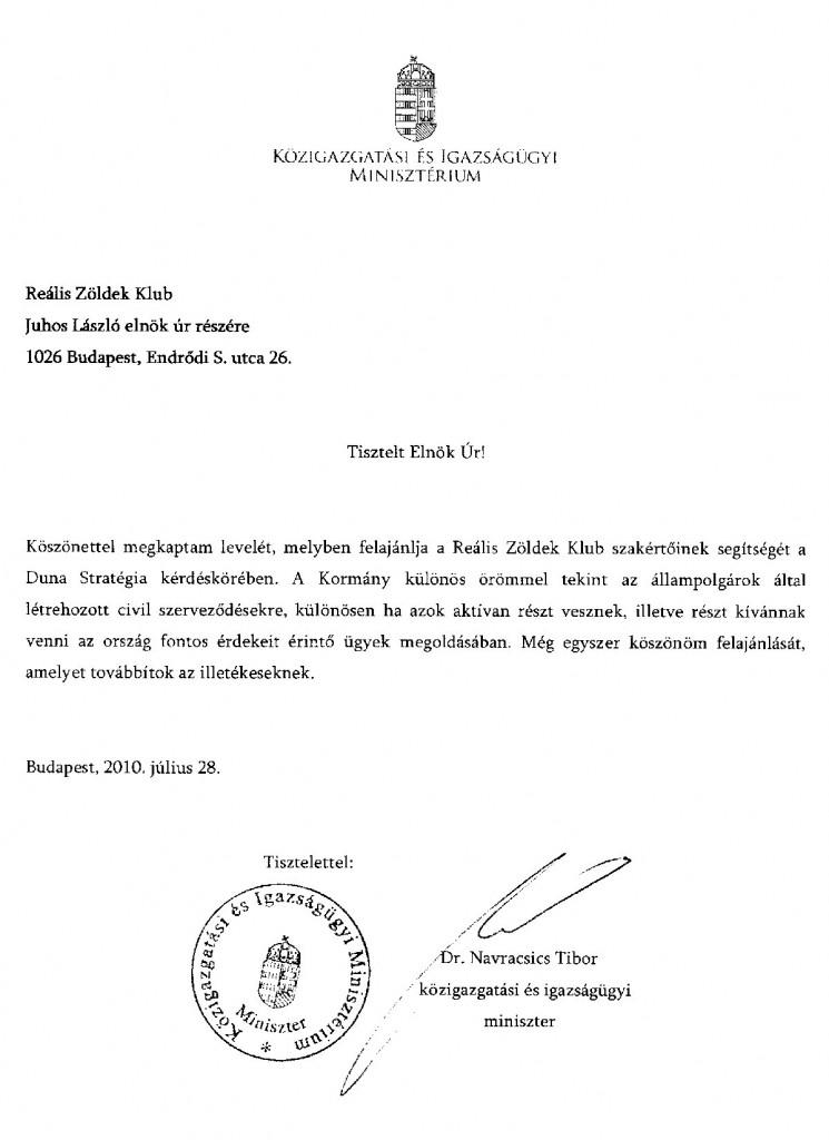 Navracsics Tibor válasz levele Juhos Lászlónak